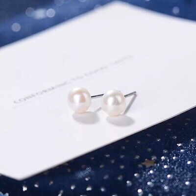 S925 Sterling Silver 6 8 mm White Freshwater Pearl Stud Women Stub Earrings US (8mm White Pearl Earrings)