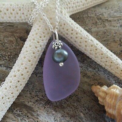 Purple Sea Glass necklace jewelry, Purple pearl,Sterling silver chain,gift box.