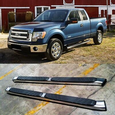 Elliptical Aluminum Steps - For 04-14 Ford F150 Super Cab (Extended) Aluminum Nerf Bars Side Step 5