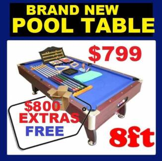 New POOL TABLE 8 x 4. $800 FREE Accessories. RENT TO KEEP OPTION.
