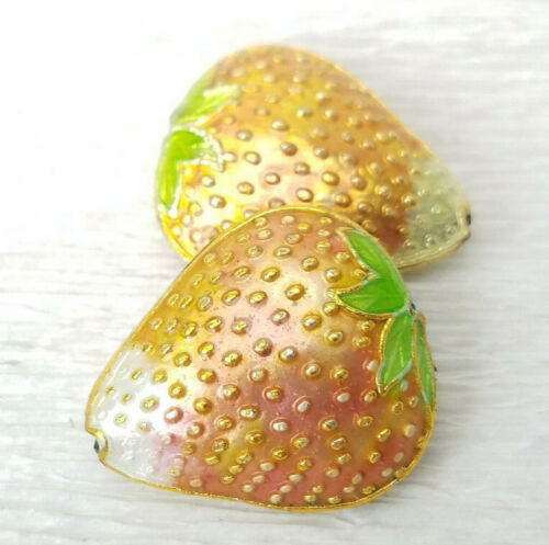 Chinese Enamel Stawberry Fruit Beads Nicely Made 20x17mm 2Pcs