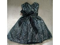 Black sequined prom dress