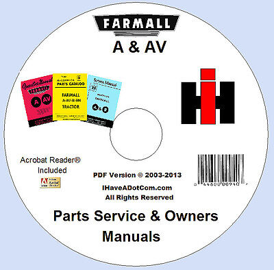 Farmall A Av Owner Parts Service 3 Manuals
