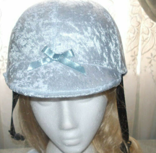 Hunt Helmet English/Hunt Covers In Pastel Blue Velour Color