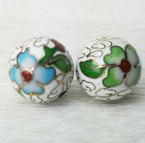 Vintage Large White w/ Green Flower Cloisonne Chinese Enamel 15mm 2 Beads