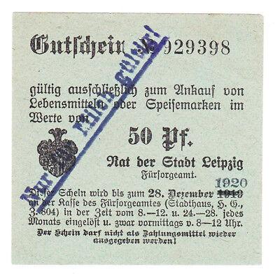 Bezugsmarke Leipzig Fürsorgeamt 50 Pf. für Milch bis 28.12.1920