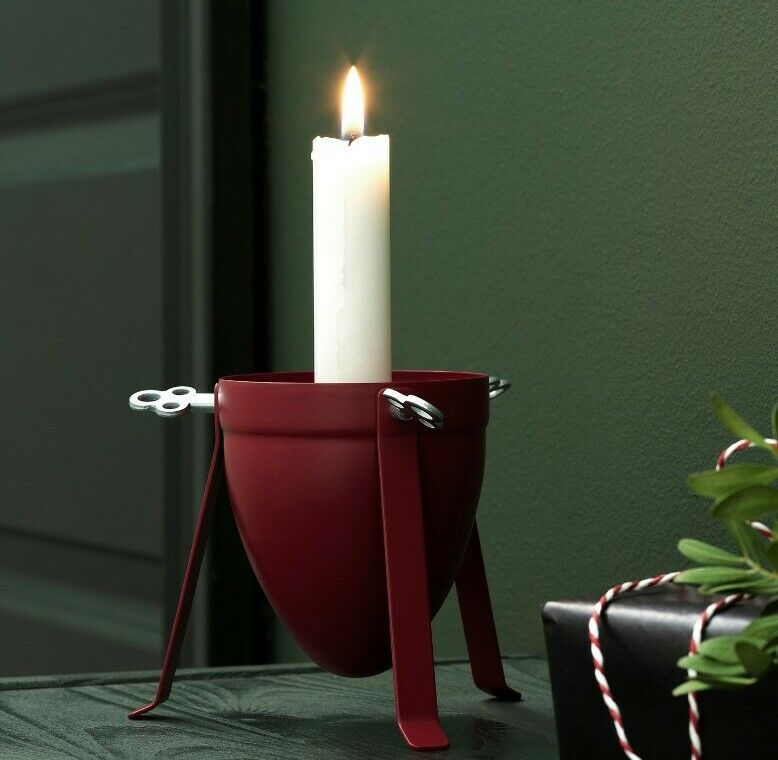 """Ikea VINTER 2020 Decoration Candle Holder Red 4""""  New"""