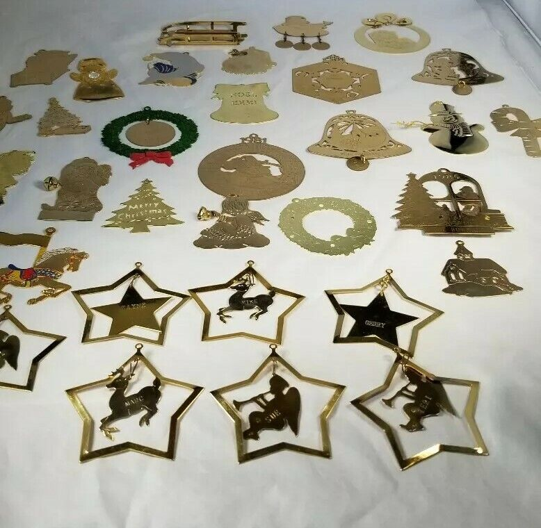 Large Lot Brass Personalized Christmas Ornaments Gold Toned