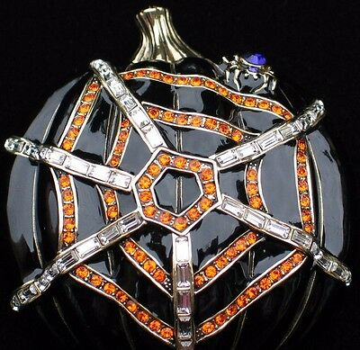 NIB HEIDI DAUS FALL SPIDER WEB HALLOWEEN PUMPKIN PIN BROOCH JEWELRY 3