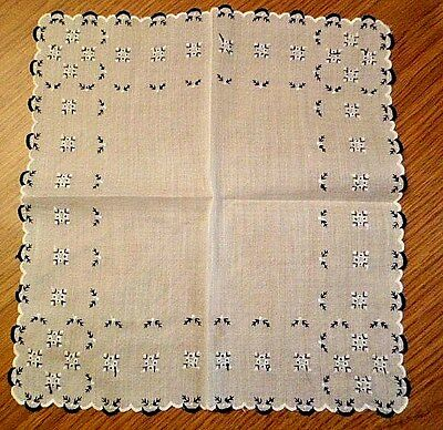 Womens Vintage Black and White Embroidered Handkerchief Hanky