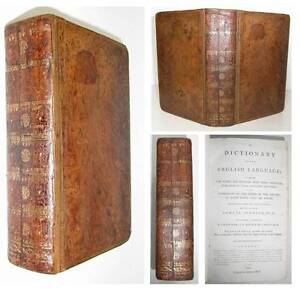 1799 Dr. Johnson's DICTIONARY OF THE ENGLISH LANGUAGE Early One Volume ed Samuel