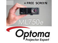 Optoma ml750e WXGA HDMI Home Cinema LED DLP Projector VGC + Free Screen