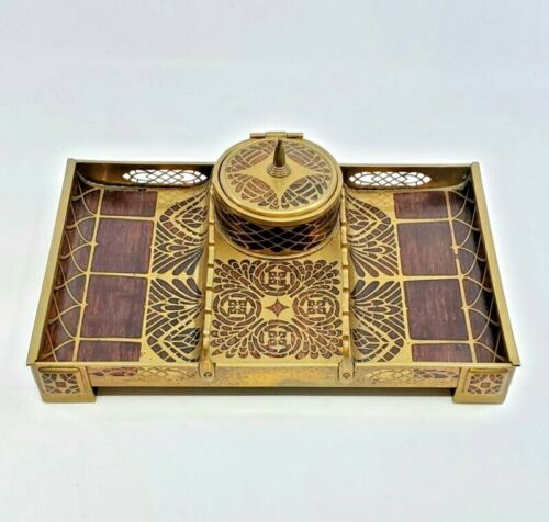 Art Nouveau Erhard & Sohne Brass & Wood Inlay Desk Organizer Ink Well