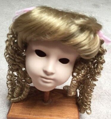 TALLINA'S DK BLOND  DOLL WIG SIZE 13  -BANGS  SPIRAL CURLS TIED ON SIDE