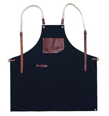 miss oh/ cotten washing100 real cow leather  apron (navy) Handmade High-quality