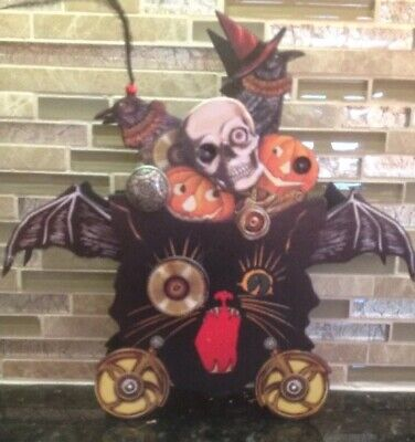 Bethany Lowe Halloween Steampunk Black Cat w/Bat Wings Container--Retired