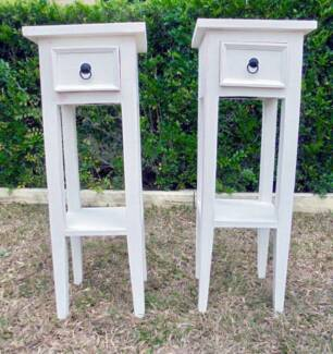 2 x Shabby White Wooden 1 Drawer Lamp/Side Tables project