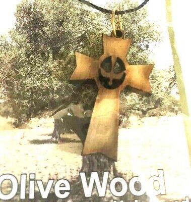 Holy Spirit Olive wood Pendant Cross from Bethlehem,City of God