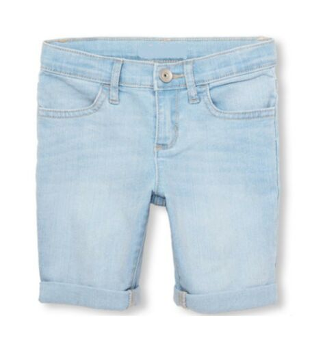 Girls Denim Shorts Kids Casual Summer Holiday Light Blue Roll-Cuff Skimmer Short