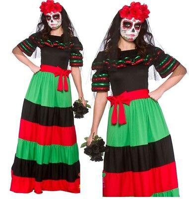 Ladies DAY OF THE DEAD SENORITA Mexican Halloween Fancy Dress Costume UK (28 Halloween Kostüme)