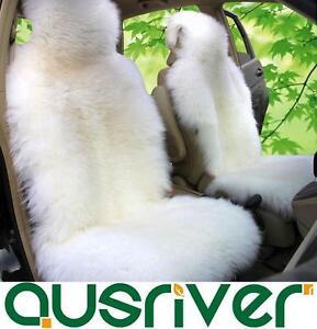 White Premium Quality Australian Sheep Skin Car Long Wool Front Seat Cover
