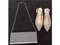 NEW Next Clutch / Shoulder Bag & Matching Shoes - size 4 - stripe navy & ecru