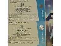 Lionel Ritchie tickets x2 Perth 3rd June