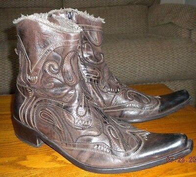 Men's Brown Leather ALDO Ankle Western Cowboy Boots  SZ 44  US 11