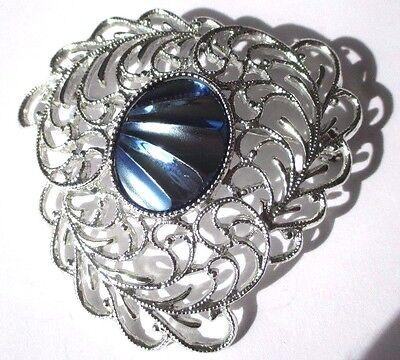 broche bijou vintage couleur argent ajouré cabochon abalone nacré signé 3417