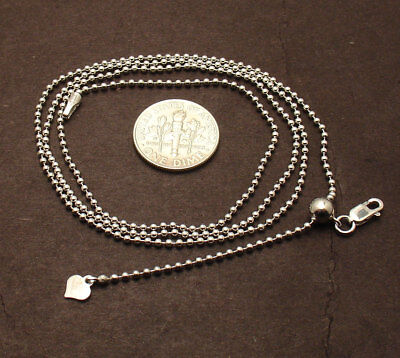 Solid 1.5mm Adjustable Bead Ball Chain Necklace 925 Sterling Silver up to 24