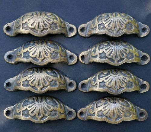 "8 Apothecary Drawer Cup Bin Pulls Handles Antique Victorian Style 3 9/16""w.  #A2"