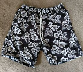 Pierre Cardin Black and white floral swim shorts medium