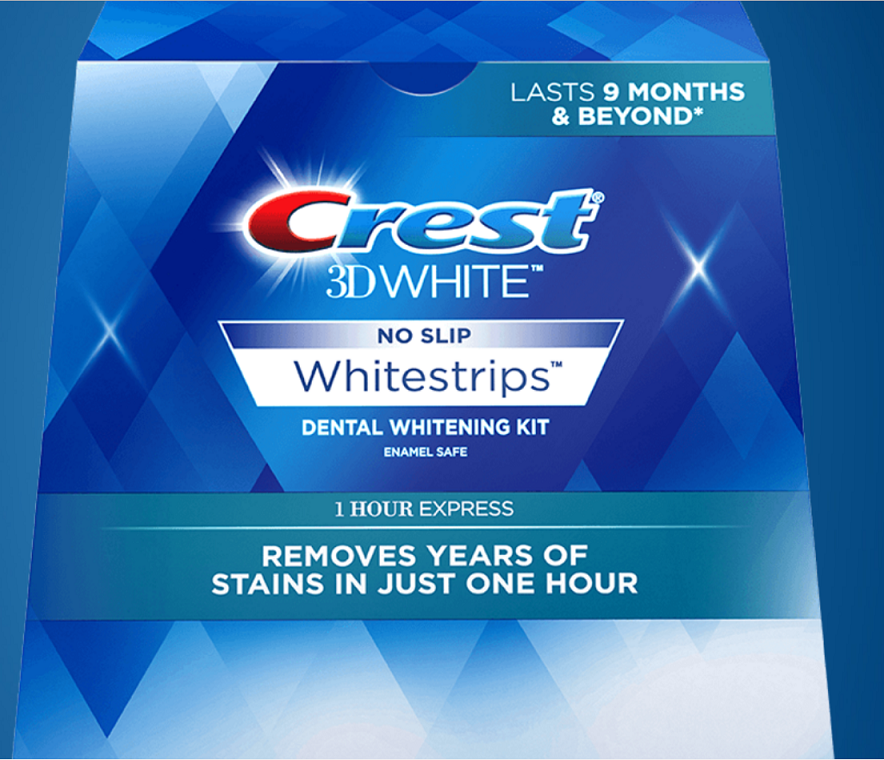 CREST 3D 1 HOUR EXPRESS Whitestrips White Strips Stripes Tee