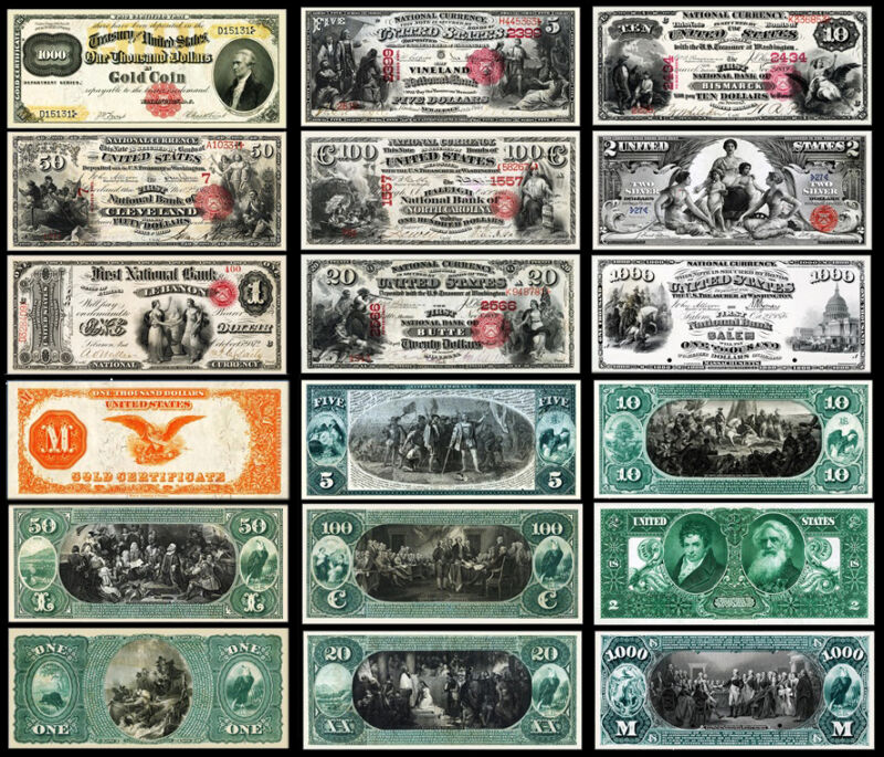 !COPY! 9 OLD RARE UNITED STATES 1$ - 1000$ DOLLARS BANKNOTES !NOT REAL!