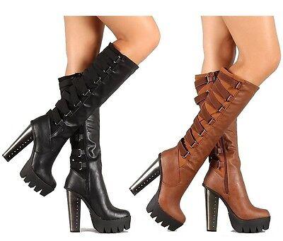Black Cognac Knee high Stretchy Boots Chunky Heel Lug sole Women\'s ...