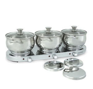 BRAND NEW Ronco Triple-Burner Buffet Entertaining Server Set