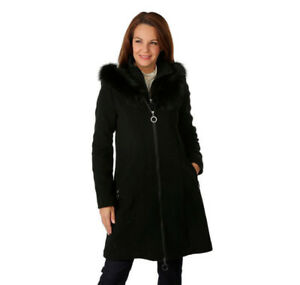 NYGARD WOOL/CASHMERE BLEND COAT W. FOX FUR TRIM- NEW- mnx