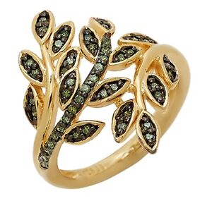 Green Diamonds Sterling Silver Gold Vermeil Ring