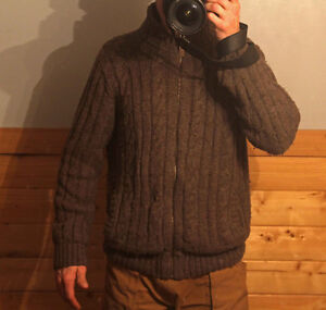 Wool, sherpa lined sweater and like-new flannel shirt. $22.
