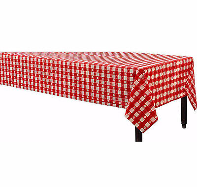 Red & white Gingham Check Plastic Table Cover Party Supplies Favor Decorations - Gingham Party Supplies
