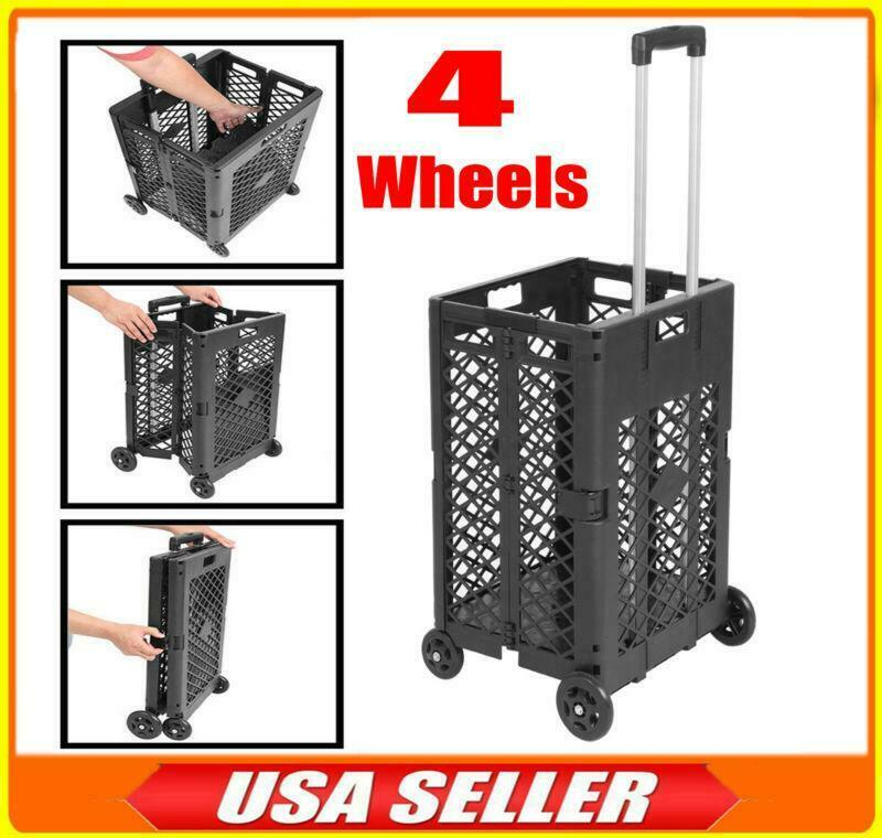 4 Wheels 55Lbs Capacity Mesh Rolling Utility Cart Folding Collapsible Hand Crate