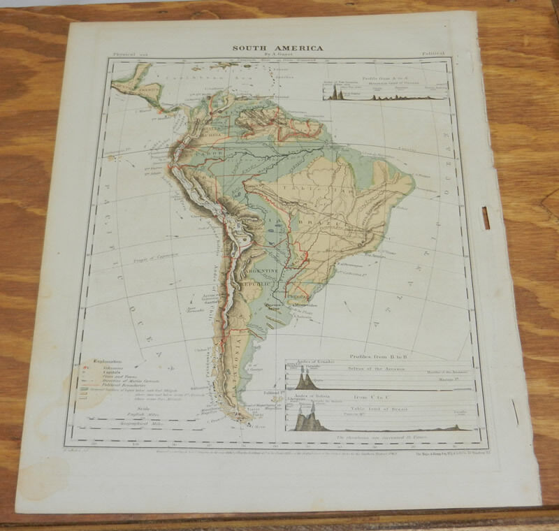 1867 Antique COLOR Map of SOUTH AMERICA, Hand-Colored