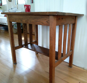 Antique Oak Mission Side Table