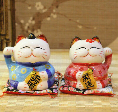 Ceramic Couple Maneki Neko Lucky Cat Figurines Coin Bank Japanese Saving Boxes