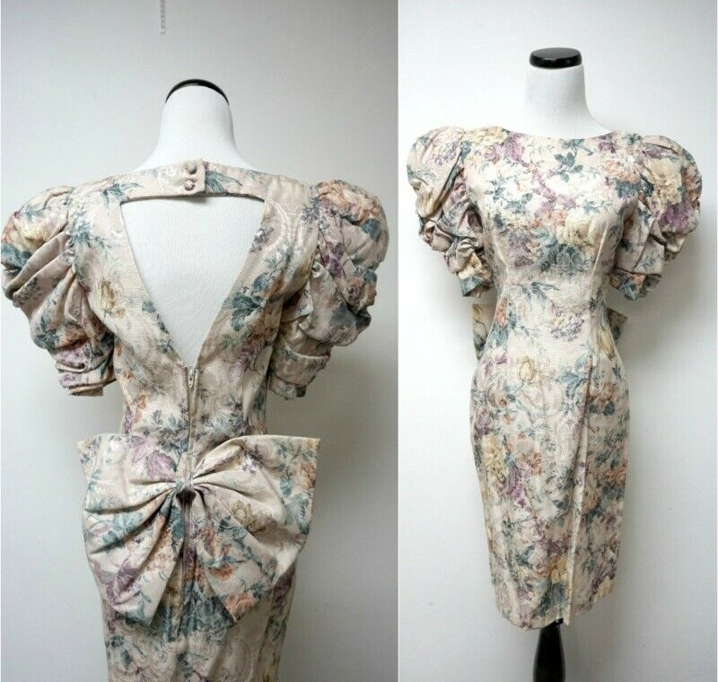 vtg 80s karen lucas for niki pretty in pink brocade floral dress xs cutout bow 4