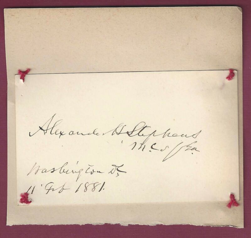 Alexander H. Stephens, VP of Confederacy, Signed Card, COA, UACC RD 036