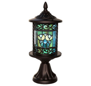 """TIFFANY STYLE 16"""" STAINED GLASS OUTDOOR LANTERN - FJN"""