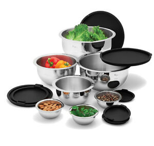 BRAND NEW - WOLFGANG PUCK 14PC STAINLESS MIXING / STORAGE BOWLS