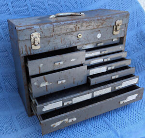 Vintage Machinists Bits & Tool Box Cabinet - All Drawers Work