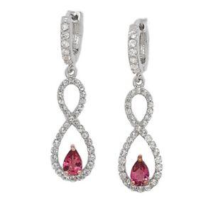 Sterling Silver Rhodium Plated Rhodolite Infinity Earrings